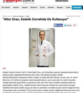 Op. Dr. Hamit Baki DURU'nun ''Altın Oran, Estetik Cerrahide de Kullanılıyor'' konulu yazısı bir çok haber portalında yer aldı.