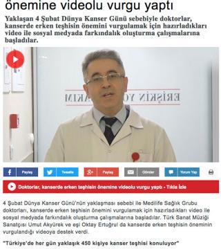 Medilife Sağlık Grubu doktorlarının ''Kanserin Farkındayız'' videosu bir çok haber portalında yer aldı.