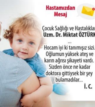 Teşekkür mesajı - Uzm. Dr. Miktat Öztürk