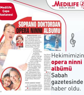 Hekimimizin Opera Ninni albümü Sabah Gazetesi'nde haber oldu.